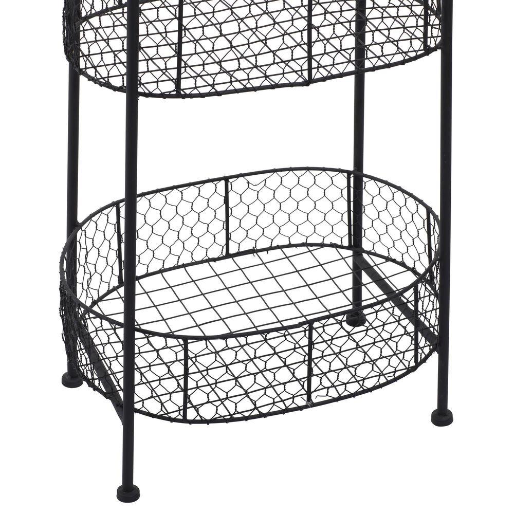 "Maple and Jade 41"" x 15"" 3-Tier Basket Rack in Black, , large"