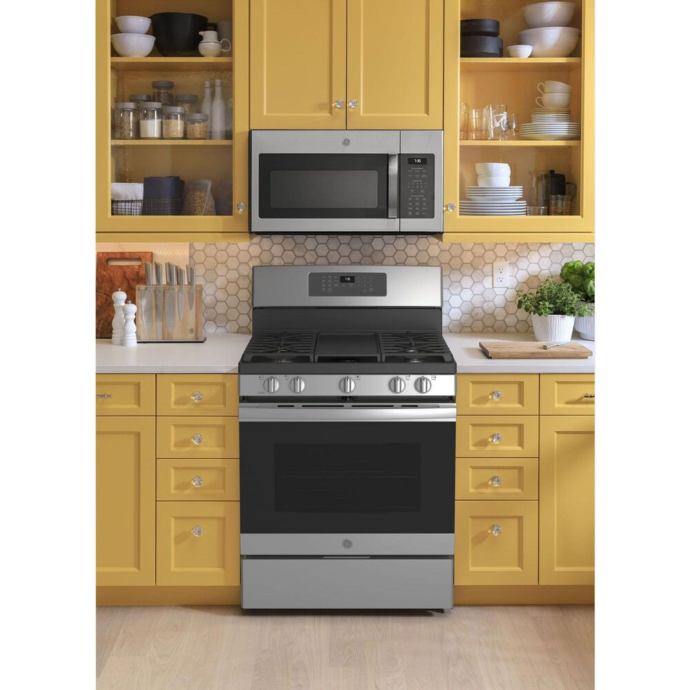 GE Appliances 2-Piece Kitchen Package with 30'' Gas Range and 1.9 Cu. Ft. Microwave Oven in Stainless Steel, , large