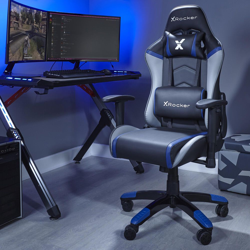 X-Rocker Agility Junior PC Gaming Chair / Blue Gray and Black / 2D Arms / No Audio, , large