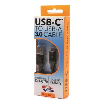 True Tech USB-C to USB-A 3.0 Cable, , large