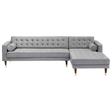 Blue River Somerset Right Sectional Sofa in Grey Velvet, , large