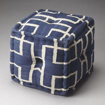 Butler Accent Seating Berkeley Cotton Pouffe in Blue, , large