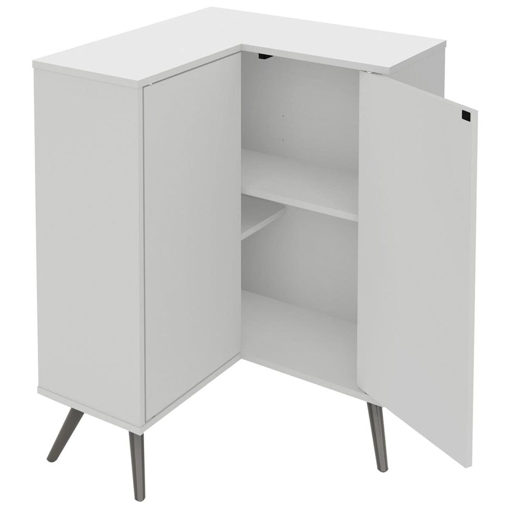 Bestar Small Space Krom Corner Storage Unit in White, , large