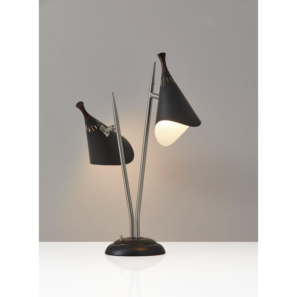Adesso Draper Desk Lamp in Brushed Steel and Black, , large
