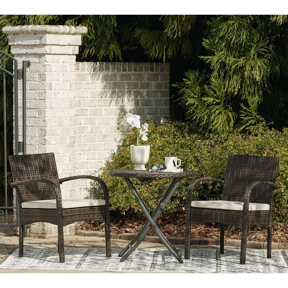 Signature Design by Ashley Anchor Lane 3-Piece Bistro Set with Light Beige Cushion in Brown, , large