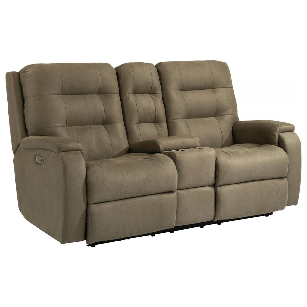 Flexsteel Arlo Power Reclining Console Loveseat with Headrest and Lumbar in Fossil, , large