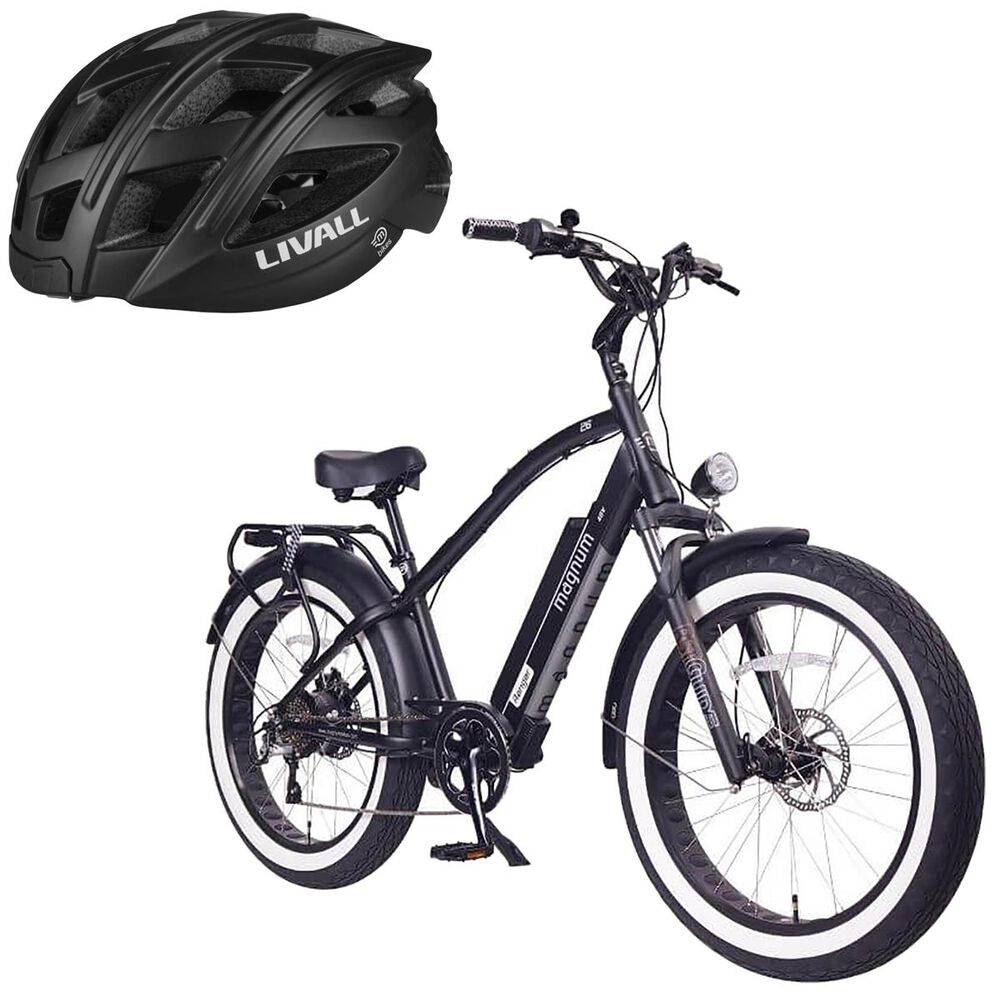 Magnum Ranger E-bike with Smart Bluetooth Bicycle Helmet in Black, , large
