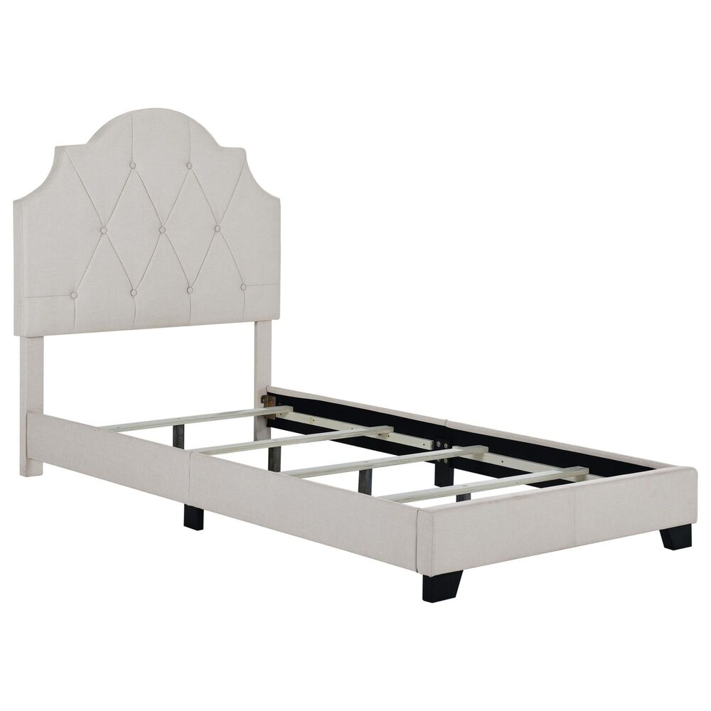 Accentric Approach Twin Upholstered Panel Bed in Light Gray, , large