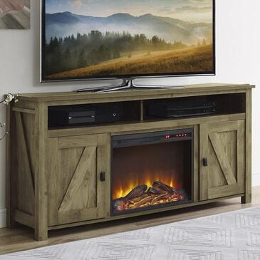 """DHP Farmington 60"""" TV Console with Electric Fireplace in Natural, , large"""