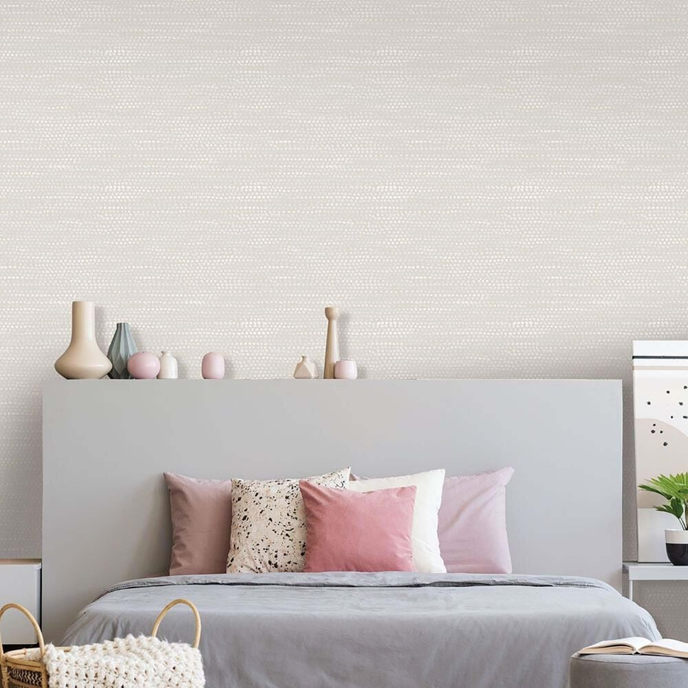 Tempaper Moire Dots Pearl Grey Peel and Stick Wallpaper, , large