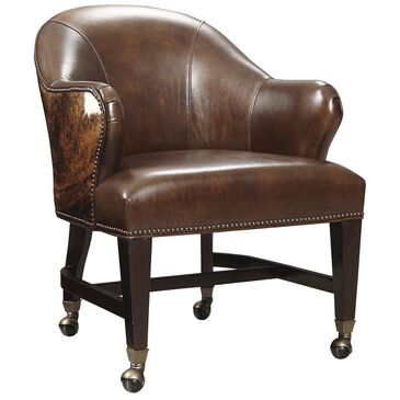 Hooker Furniture Queen Game Chair in Isadora Coffee (Aniline Top Grain) and Dark Brindle HOH, , large