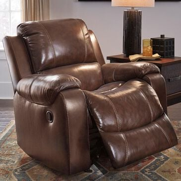 Signature Design by Ashley Rackingburg Leather Manual Rocker Recliner in Mahogany, , large