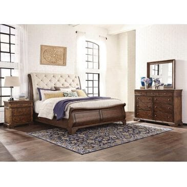 Trisha Yearwood Home Collection 4 Piece Queen Upholstered Bedroom Set in Coffee, , large