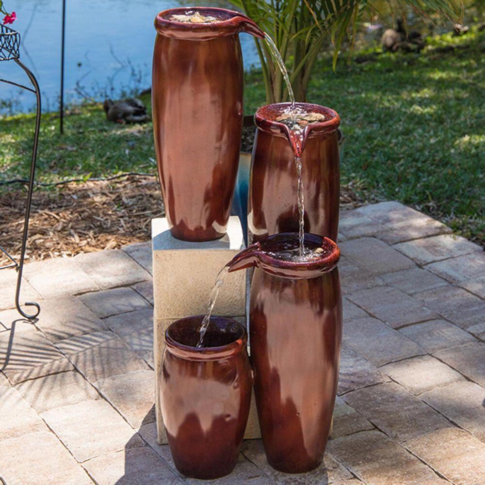 Kenroy Vessel Indoor/Outdoor Floor Fountain in Textured Rust, , large