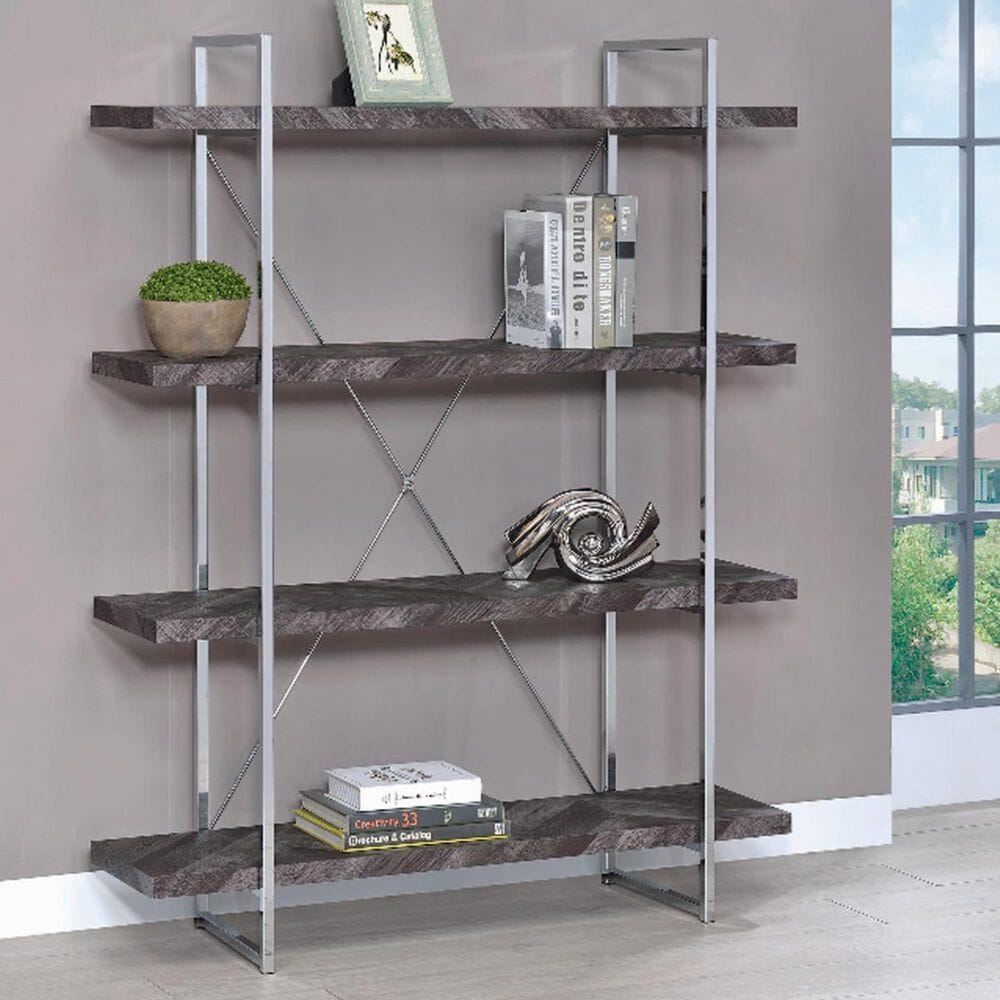 Pacific Landing Grimma 4-Shelf Bookcase in Rustic Grey Herringbone and Chrome, , large