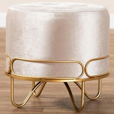Baxton Studio Lucienne Ottoman in Beige/Gold, , large