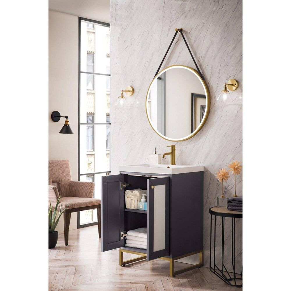 """James Martin Chianti 24"""" Single Bathroom Vanity in Mineral Grey and Radiant Gold with White Glossy Solid Surface Resin Top, , large"""