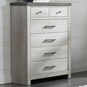 Samuel Lawrence Riverwood 6 Drawer Chest in Whitewashed and Brown, , large