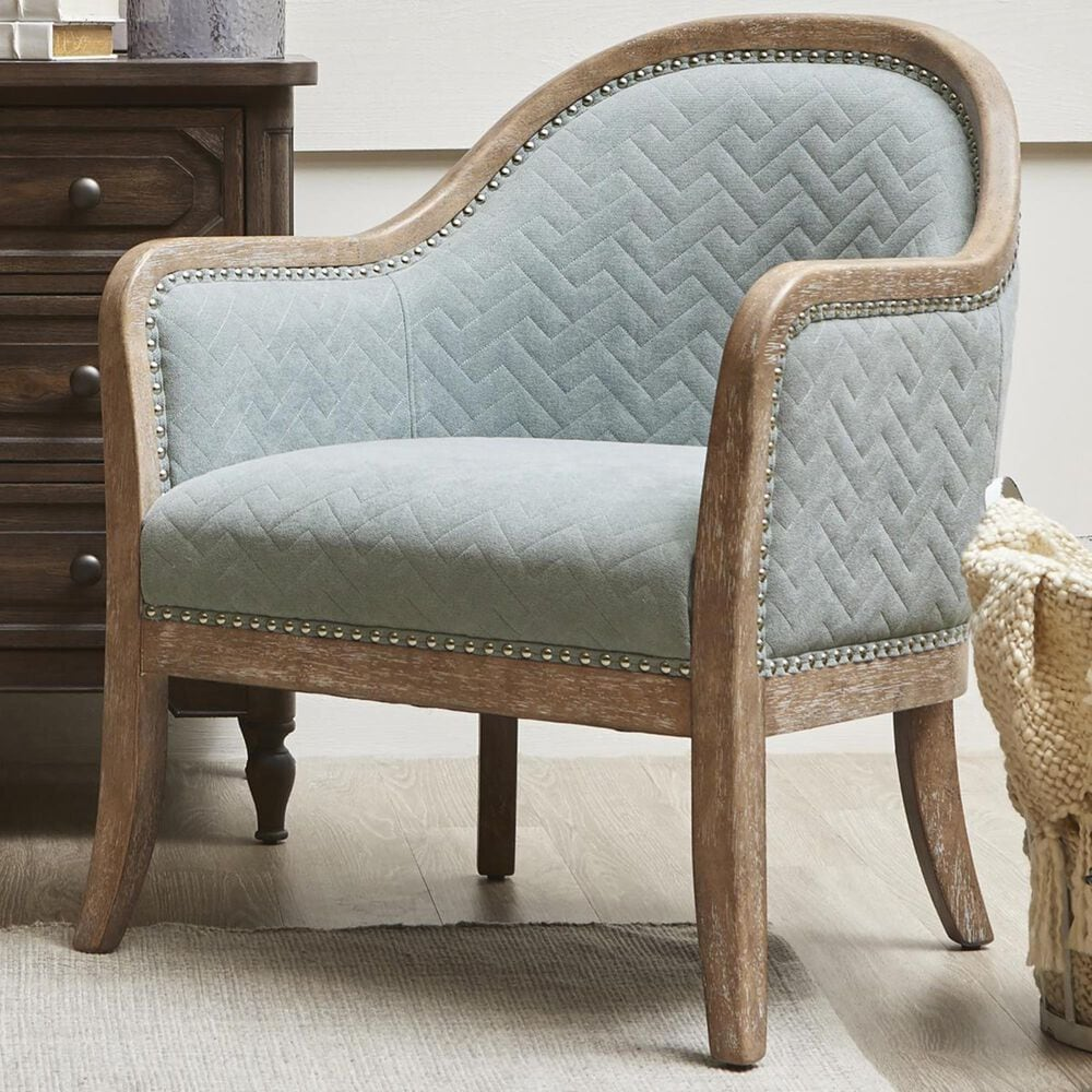 Accentric Approach Accentric Accents Wood Frame Accent Chair in Quilted Blue, , large
