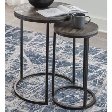Signature Design by Ashley Briarsboro Accent Nesting Table Set in Washed Gray and Black, , large