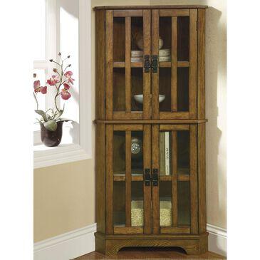 Pacific Landing Corner Curio Cabinet in Warm Brown Oak, , large