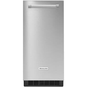 "KitchenAid 15"" Automatic Ice Maker with Drain Pump in PrintShield Stainless Steel Finish , , large"