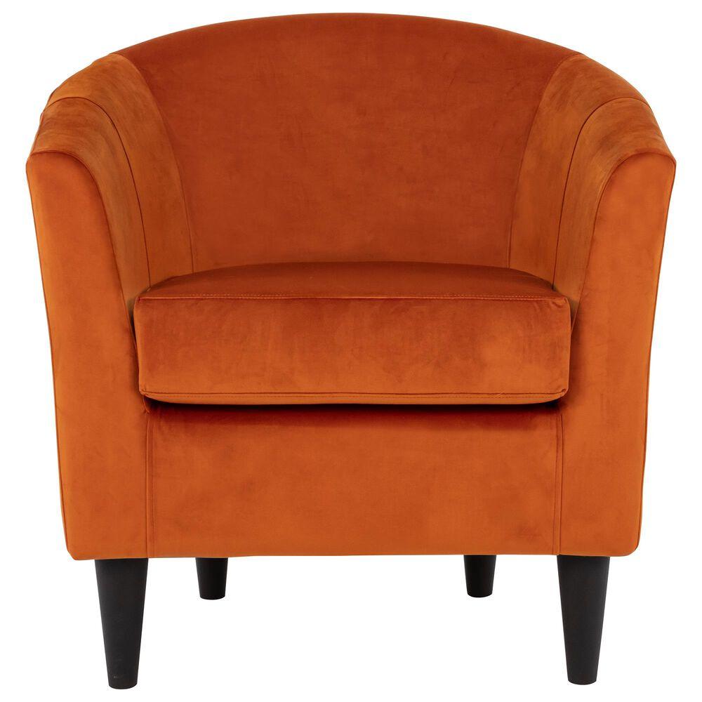 Overman International Corp Chantel Accent Chair in Orange Velvet, , large