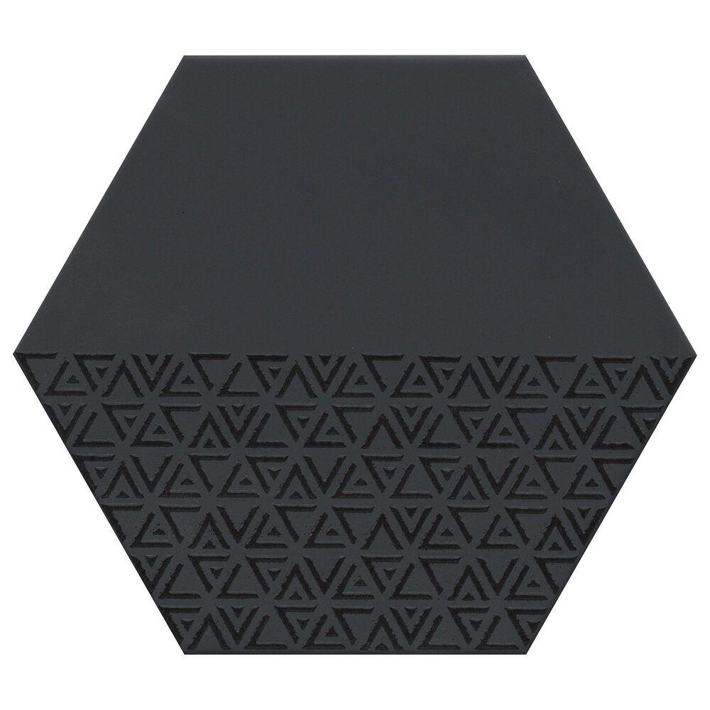 "Emser Rhythm Black Hexagon Pattern 11"" x 13"" Porcelain Tile, , large"