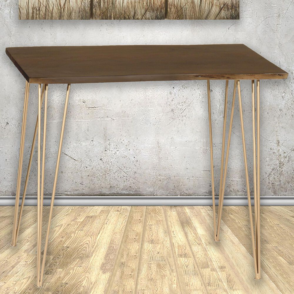 Carolina Chair and Table Seti Live Edge Bar Table in Elm/Gold, , large