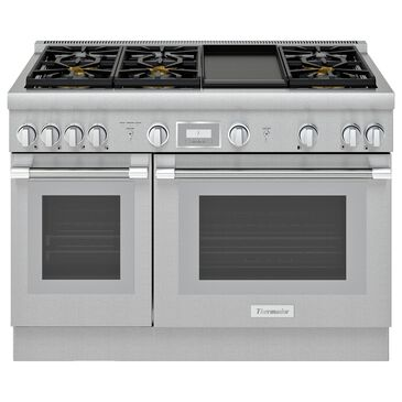 """Thermador Professional Harmony 48"""" Double Oven Dual Fuel Range with 6 Burners and Griddle in Stainless Steel, , large"""