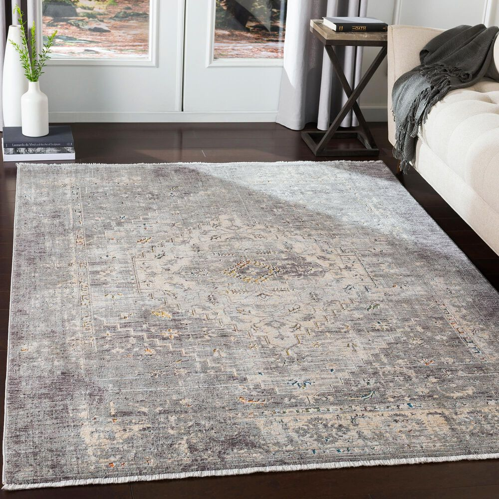 Surya Presidential PDT-2311 5' x 8' Charcoal, Ivory, Blue and Orange Area Rug, , large