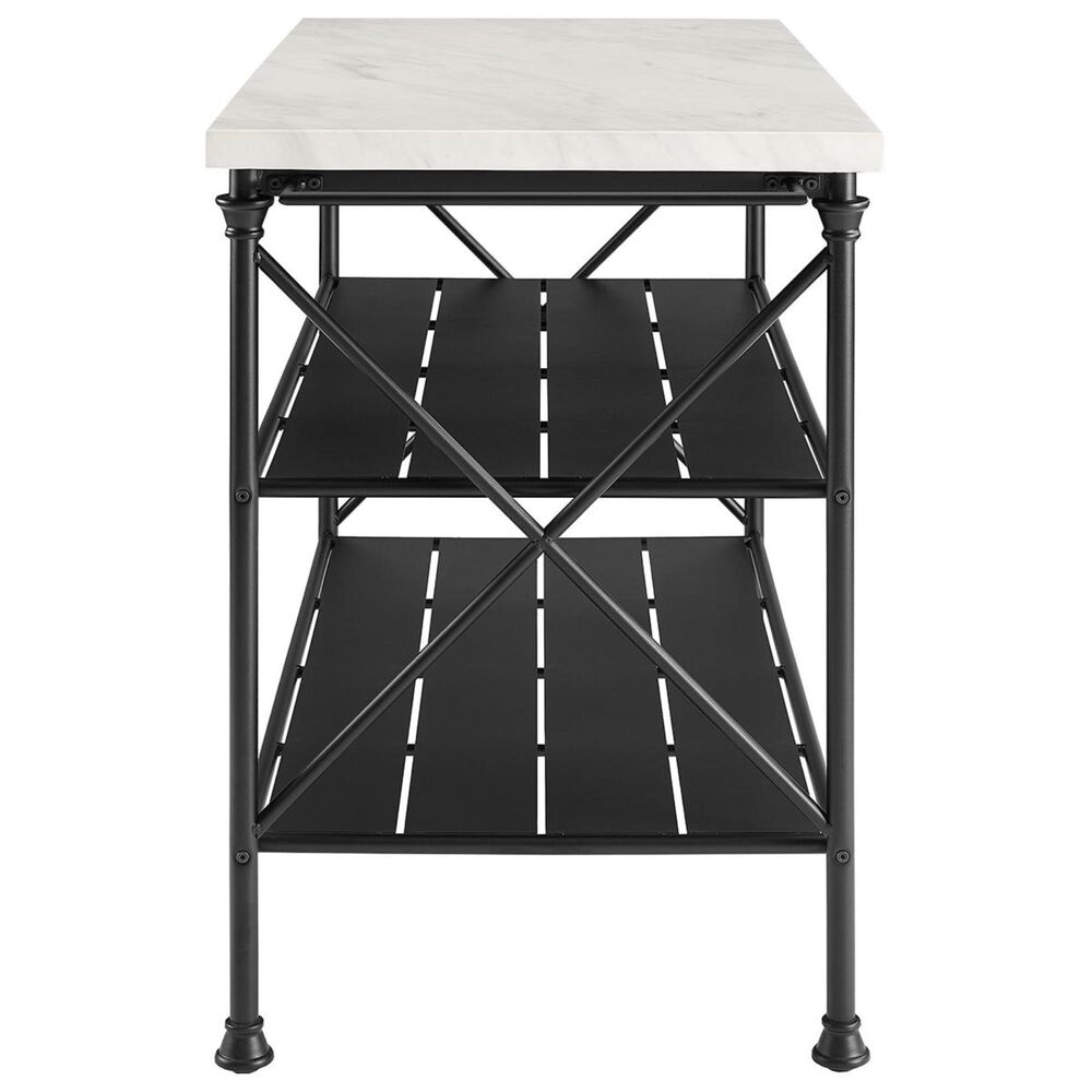 Crosley Furniture Madeleine Kitchen Island in Black and Faux Marble, , large