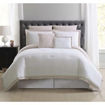 Pem America Truly Soft Everyday 7-Piece Full/Queen Hotel Border Comforter Set in White and Blush, , large