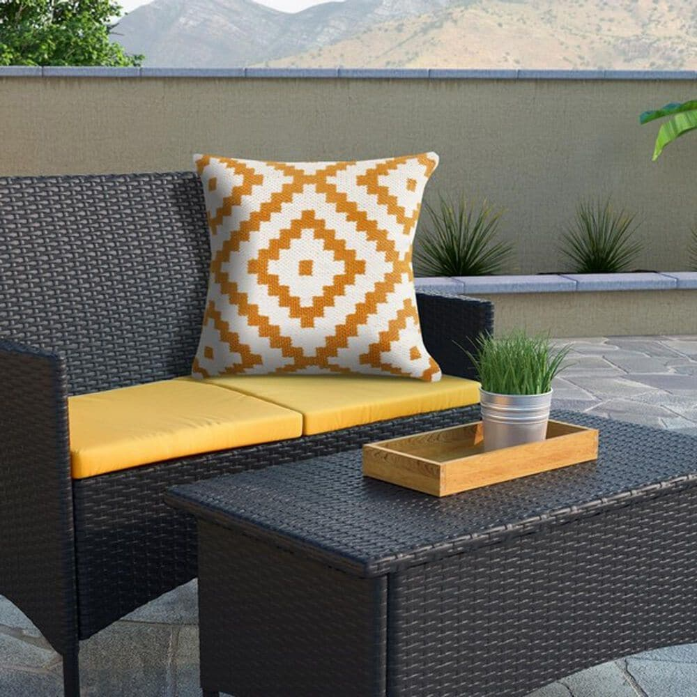 """L.R. RESOURCES Robin 20"""" x 20"""" Geometric Outdoor Throw Pillow in White and Yellow, , large"""