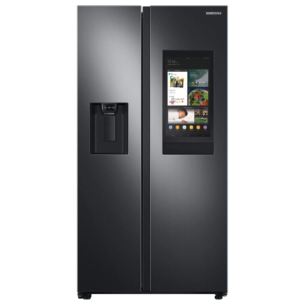 Samsung 4-Piece Kitchen Package with 22 Cu. Ft. Side-by-Side Refrigerator and Pocket Handle Dishwasher in Black Stainless Steel, , large