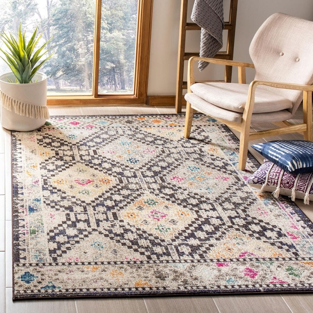 """Safavieh Madison MAD418Z 5'3"""" x 7'6"""" Black and Yellow Area Rug, , large"""
