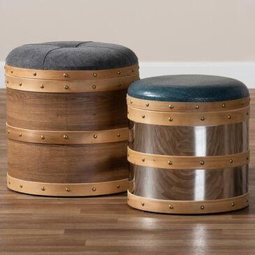 Baxton Studio Caleb 2-Piece Storage Ottoman Set in Grey/Blue/Oak Brown/Mirrored, , large