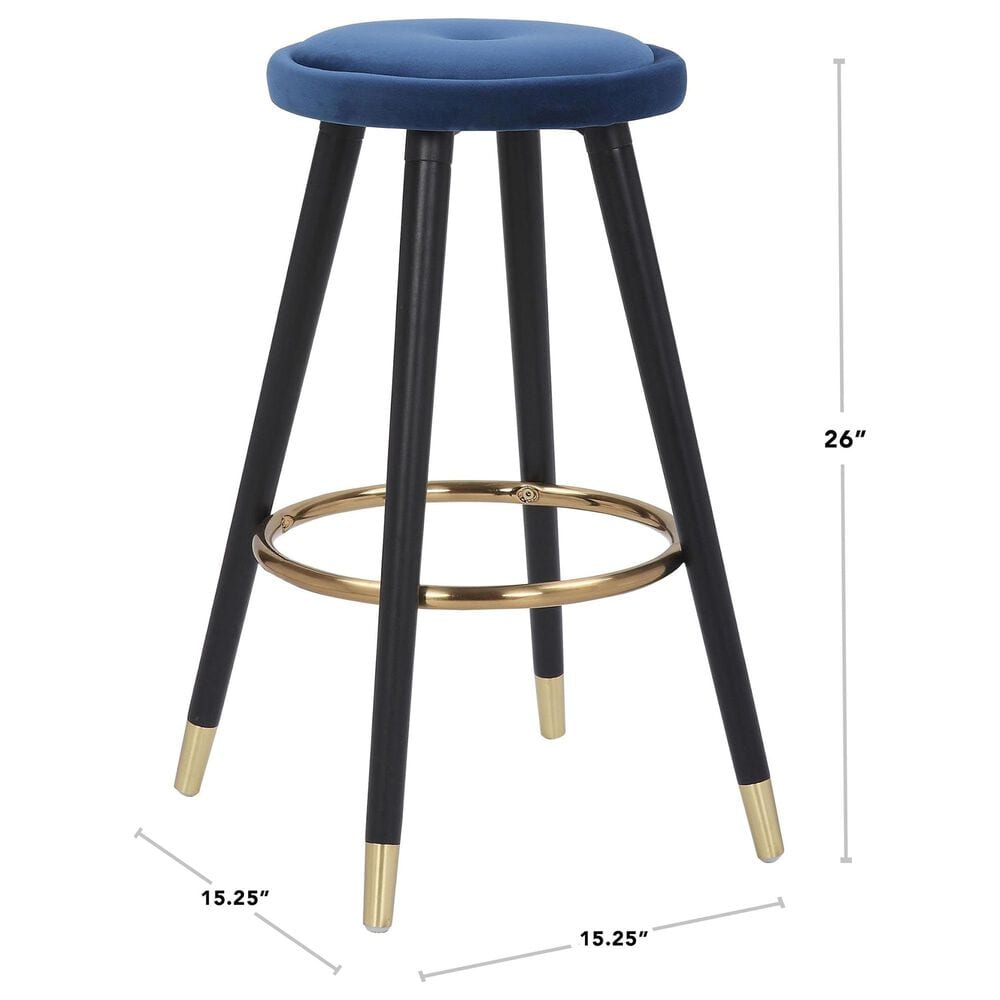 Lumisource Cavalier Counter Stool in Blue/Black/Gold (Set of 2), , large