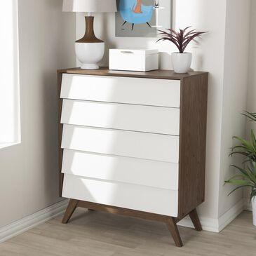 """Baxton Studio Hildon 5 Drawer Storage Chest in White/""""Walnut"""" Brown, , large"""