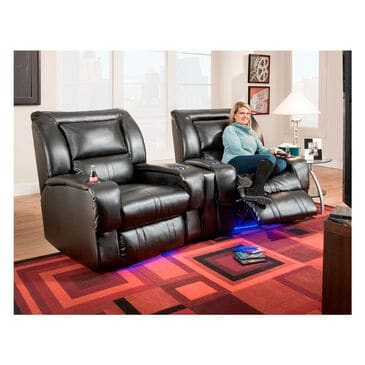 Southern Motion Roxie 2-Seat Power Home Theater Seating with Mood Lite in Black, , large