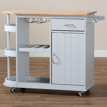 Baxton Studio Donnie Kitchen Storage Cart in Light Grey, , large