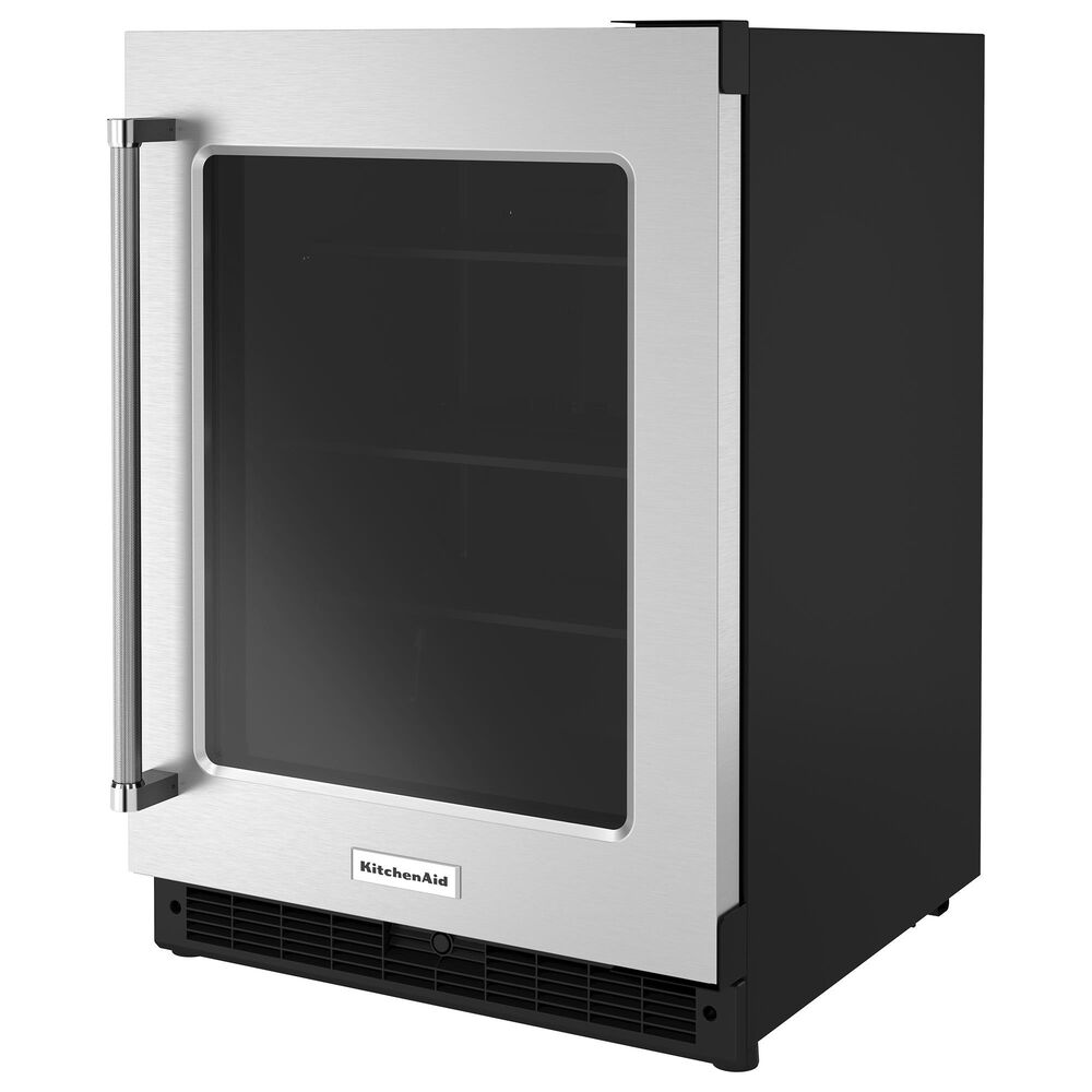 """KitchenAid 24"""" Undercounter Refrigerator with Glass Door in Black and Stainless Steel, , large"""
