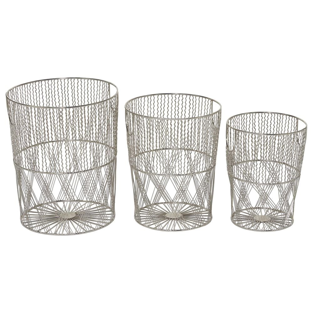 Maple and Jade Maple and Jade Contemporary Metal Storage Basket Silver Set of 3, , large