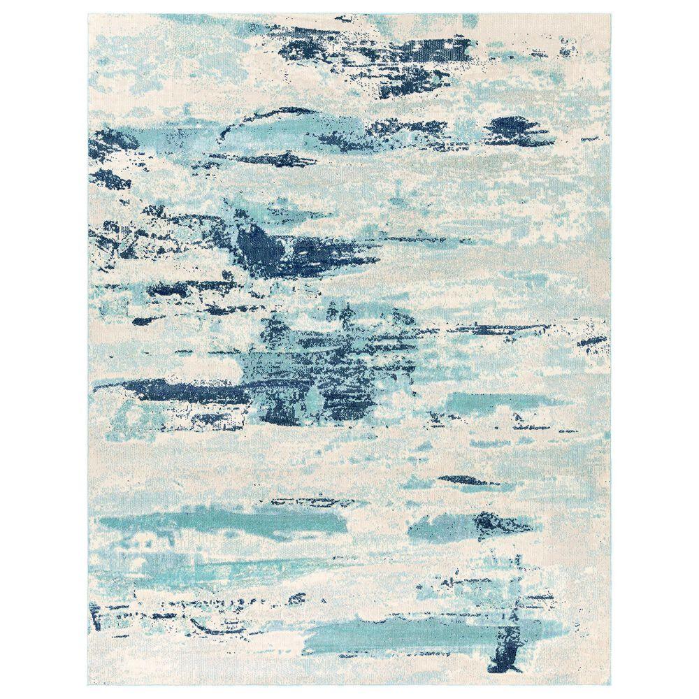 "Surya Bodrum 7""10"" x 10"" Ivory, Gray, Navy, Aqua and Blue Area Rug, , large"
