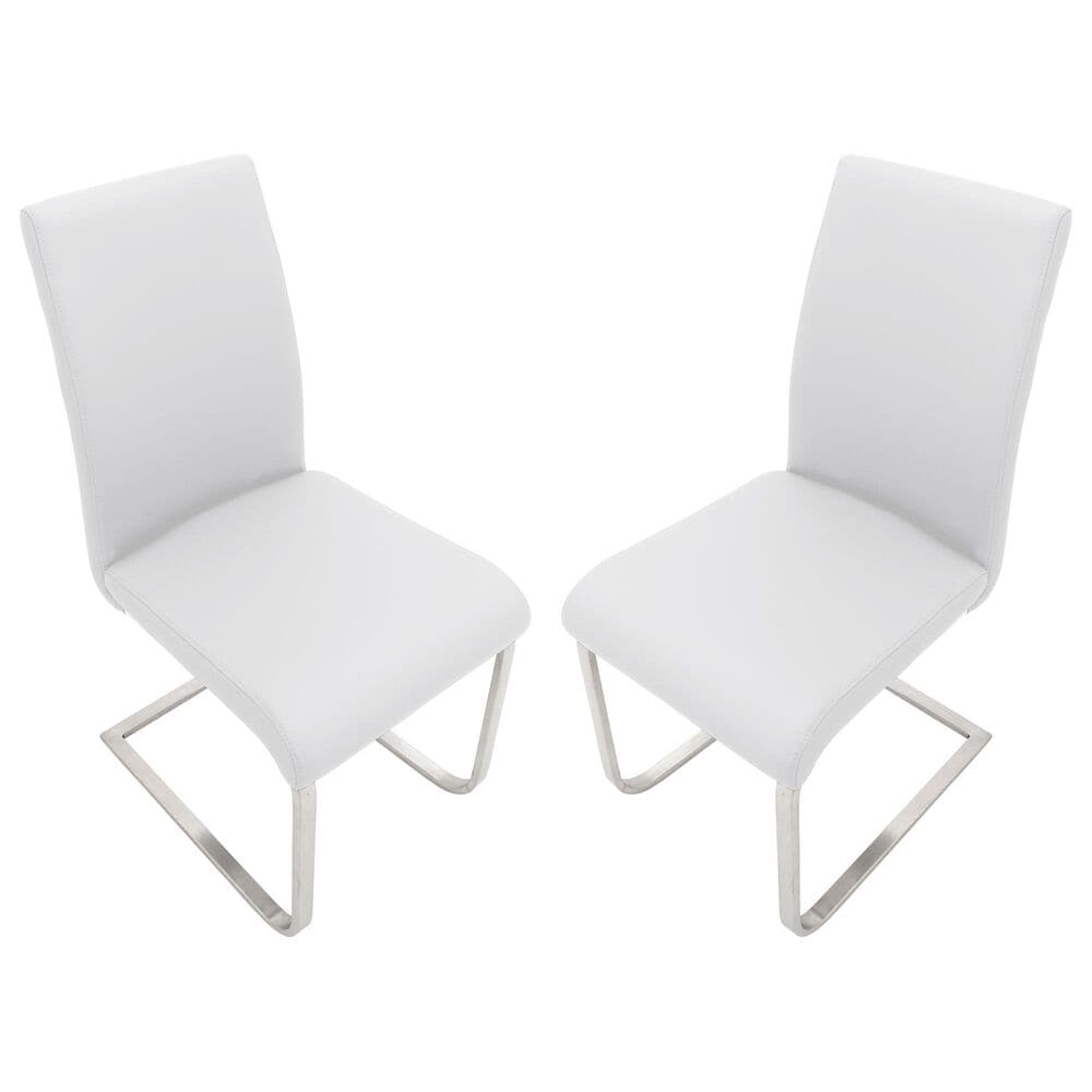 Lumisource Foster Dining Chair in White/Stainless Steel (Set of 2), , large