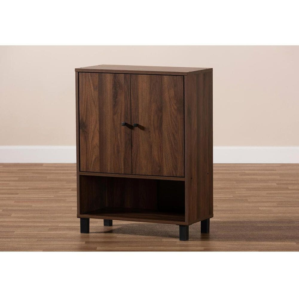 Baxton Studio Rossin 2-Door Entryway Shoe Storage Cabinet with Open Bottom Shelf in Walnut, , large