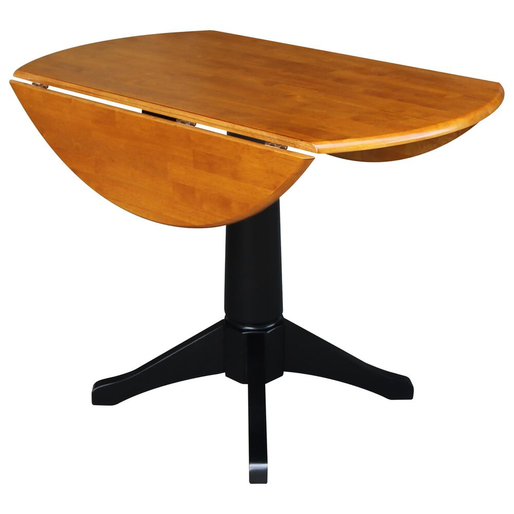 """International Concepts 42"""" Modern Farmhouse  Drop Leaf Dining Table in Black/Cherry, , large"""