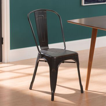 Walker Edison Metal Cafe Chair in Antique Black, , large