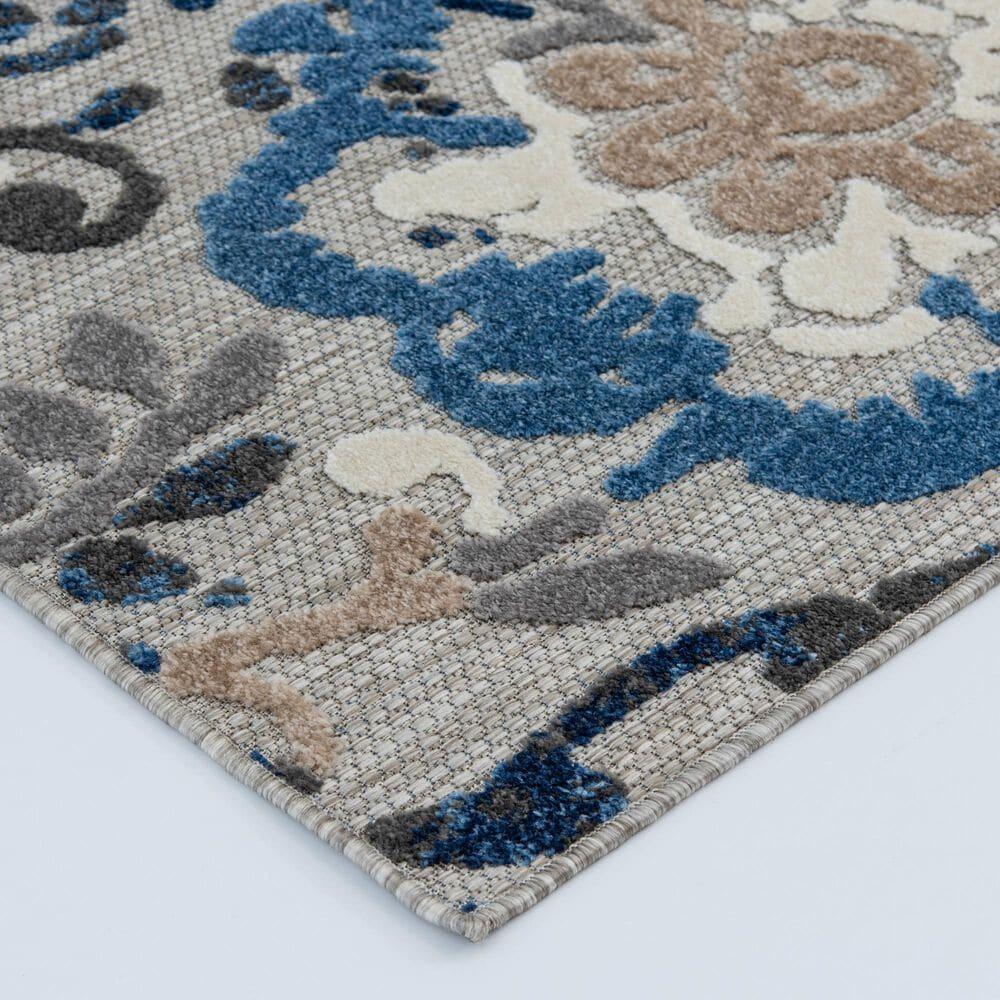 """Central Oriental Fontana Pakuna 1650.61 2'2"""" x 3' Gray and Blue Area Rug, , large"""
