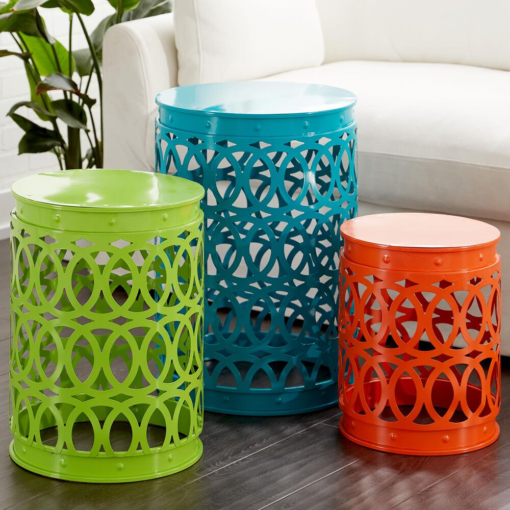 Maple and Jade Maple and Jade Coastal Metal Accent Table Multi Colored Set of 3, , large